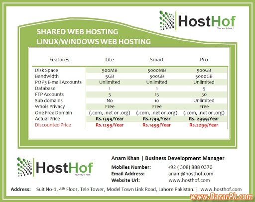 Shared Web Hosting In Lahore Pakistan Computers & Networking